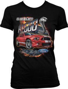 d602074b7576d Ford Shelby Red GT 500 Muscle Car Cobra Mustang Racing Juniors T-shirt