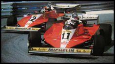 1978 Carlos Reutemann leads Gilles Villeneuve at Monaco (Ferrari 312 T3)