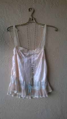Image of Vintage 1940s silk peach lace and ribbon camisole