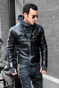 Justin Theroux hoodie + leather jacket (via @gqmagazine)