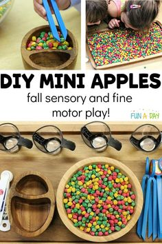 """Fall is the perfect time for a preschool apple theme! Follow the simple instructions to make your own colored and scented """"apples,"""" and then use them in a variety of suggested ways for sensory and fine motor play! Preschool Apple Activities, Fall Activities For Toddlers, Preschool Apple Theme, Early Learning Activities, Sensory Activities, Sensory Bins, Sensory Play, Kindergarten, Apple Unit"""