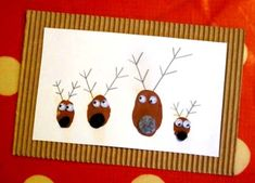 Going to do this! Diy Christmas Reindeer, Childrens Christmas, Kids Christmas, Christmas Crafts, Paper Cards, Diy Cards, Diy For Kids, Crafts For Kids, Fingerprint Cards