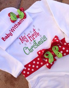My First Christmas Newborn Baby's Baby Gown and Cap Hat Set Boy Girl Hospital Outfit