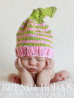 Newborn Photography Prop Baby Knit Hat by PeachPoshPolkadots
