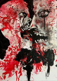 """EBOLA LOVE"" original art, lowbrow, horror  ,ACEO  jack larson 3.5""x2.5""  #Abstract"