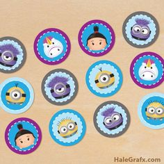 Free printable Minion Tsum Tsum cupcake toppers for your party. Prints 12 toppers per sheet in PDF format. 6 different Minion Tsum Tsum toppers. Minion Theme, Minion Birthday, Minion Party, Third Birthday, Happy Birthday, Bolo Minion, Minion Cupcakes, Party Printables, Free Printables