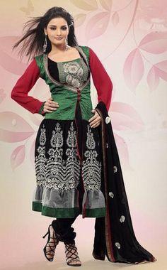 $71.32 Green Full Sleeve Cotton and Faux Georgette Long Anarkali Salwar Kameez 21488