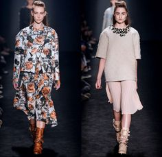 Triton 2014 Winter Womens Runway Collection - São Paulo Fashion Week Brazil - Inverno 2014 Mulheres Desfiles - Destroyed Ripped Skinny Colored Denim Jeans Floral Embroidery Embellishments Sheer Chiffon Peek-A-Boo Grunge Rock Punk Bomber Jacket Ruffles Pleats