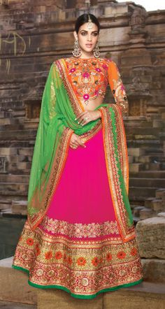 Amazing Bhagal Puri and Georgette Lehenga with Embroidery in Orange