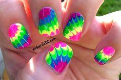 DIY Nails Art :DIY Neon Nails Art : Neon Tie Dye Nails