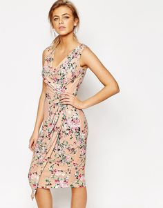 Closet+Midi+Dress+in+Floral+Print+with+Wrap+Front