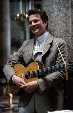 Colin Firth, male actor, celeb, guitar, powerful face, intense eyes, handsome, musician, Mr. Darcy, sexy, hot, portrait, photo