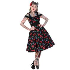 13a4c86bed68 Banned Black Cherry Sugar Skull Rockabilly 50S Vintage Pinup Party Prom  Dress Abiti Pin Up