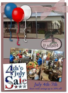 "Our Discounts Are Ballooning - July 4th-7th- INDEPENDENCE DAY BALLOON BLOWOUT at gg ganache - 3rd & Main - Storewide savings up to 50% off! Balloons will be attached to sale items throughout the store! Also, anyone purchasing $ 500 or more of non-sale GG Ganache merchandise will get to participate in the balloon burst at the counter for a chance to win up to 30% off the entire purchase.  Please tell our friends at gg ganache that ""Marble Falls"" from Facebook sent you!"