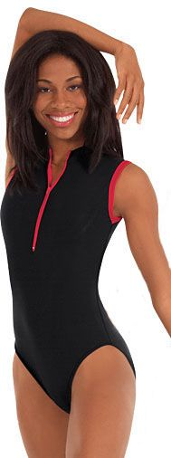 Eurotard 44518 Michelle Microfiber Zipper Front Sleeveless Leotard with Contrast Trim and Fully Lined Front
