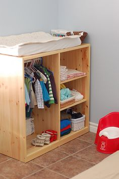 A limited amount of clothing hung at the right height for a toddler is a perfect way to support independence. Limited items support choice. Even a toddler can put away his own laundry with this piece of furniture!