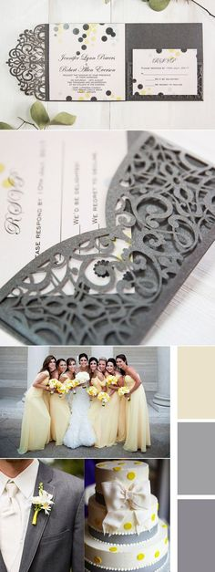 sweet yellow and grey laser cut wedding invitations for yellow and grey weddings