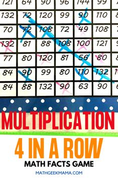 Students will have a blast trying to beat their partner in this Multiplication Four in a Row Game! Set up is easy and 3 game versions are included.  #multiplication #mathgame #mathfacts #homeschool