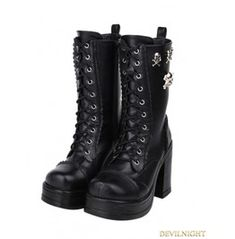 Black Gothic Punk Skull Lace Up Pu Leather High Chunky Heel Boots 9726 A
