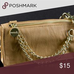 Camel Clucth Cross Over Crafted into a sleek box, this evening clutch gets a retro twist for an eye-catching, smooth finish. Carry it in hand, or attach the chain strap to hang it over the shoulders. Great for a night on the town! Mark Bags Clutches & Wristlets