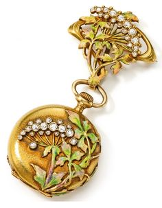 A FINE YELLOW GOLD, ENAMEL, AND DIAMOND-SET ART NOUVEAU OPEN FACED PENDANT WATCH. CIRCA 1915. Manual winding movement, 18 jewels, gilt dial, black Breguet numerals, outer minute track, blued steel hands, hammered 18k yellow gold case, hinged case back set with enamel and diamond-set Art Nouveau floral motif, with matching brooch pendant, case, dial, movement, and cuvette signed Patek Philippe.