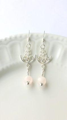 Rose Quartz Chandelier Earrings Pink earrings by SundarAndFrouFrou