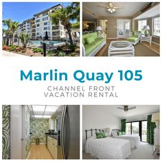 Marlin Quay 105 is a two-bedroom, two-bath inlet/channel-front condo located across the street from the beach and two miles south of Garden City Pier. This unit features ceramic tile and bamboo flooring, and private balcony. Three TVs, DVD player, and Wi-Fi are also provided. Sleeping accommodations include one queen, one double, and one twin-sized bed. Complex amenities include two outdoor swimming pools, six elevators serving two units per floor.  Maximum occupancy: 5 Outdoor Swimming Pool, Swimming Pools, Two Bedroom, Vacation Rentals, View Photos, Wi Fi, Condo, The Unit, Queen