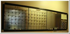 """two months of calendars.  So I created them with the art tape and made each day a 3"""" square.  I used a 3"""" square piece of cardstock to help keep my lines even.     I found cute bingo pieces to use for the numbers.  I used super strong magnets on the back of each one, so they are moveable."""