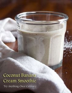 Coconut Banana Cream Smoothie | www.tryanythingon... | If you can spare two minutes, you can totally indulge for breakfast! | #coconutbananacreamsmoothie