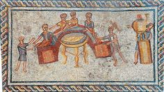 The Sepphoris Expedition, The Hebrew University of Jerusalem/Photo by Gabi Laron Four banqueters recline at a semicircular platform or stibadium, attended by three servants (one tending a water heater, far right), in this mosaic from the floor of a third-century C.E. Roman house in Sepphoris, Israel.