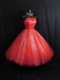 Vintage 1950's 50s Bombshell STRAPLESS RED Emma by VintageVortex, $399.99