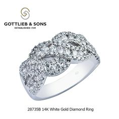 Sparkling diamonds shine from every direction in this 14K White Gold Diamond ring. This #diamond ring features shared prong and channel set round diamonds in a weave pattern. Visit your local #GottliebandSons retailer and ask for style number 28735B. http://www.gottlieb-sons.com/product/detail/28735B