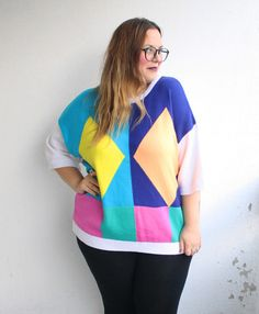 Plus Size Geometric 90's Sweater