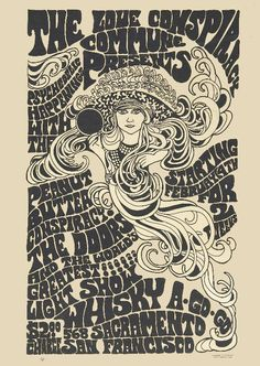 Doors 1967 San Francisco Whisky-A-Go-Go Concert Poster. Original psychedelic advertising poster for The Doors - Available at 2019 July 20 - 21 Entertainment. Rock Posters, Hippie Posters, Band Posters, Psychedelic Rock, Psychedelic Posters, Vintage Concert Posters, Vintage Posters, Roy Lichtenstein Pop Art, Retro Poster