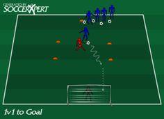 1 v 1 to Goal, 1 v 1 soccer drill to goal, 1 v 1 soccer, going to goal, scoring goals