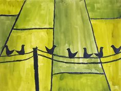 Birds on a wire. School Art Projects, Projects For Kids, Art School, Crafts For Kids, Arts And Crafts, 6th Grade Art, Crazy Bird, Spring Art, Autumn Art