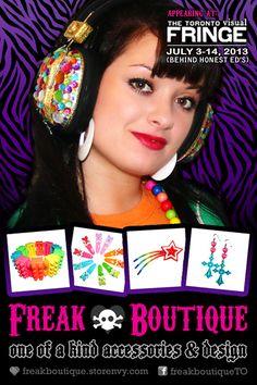 Check out #FreakBoutique's #kawaii #jewelry & #accessories at the @Lisa Townson Fringe Festival (July 4-14)! #art #music #theatre #design #jewellery #fairykei #spank #decora #fruits #lolita #loli #Toronto #fashion #handmade #japan #vintage #retro #diy #pink #purple #rainbows #kitsch #ooak