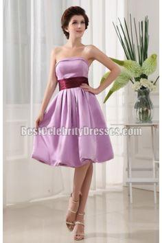Knee-length Strapless Graduation Dress