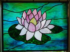 """""""Single Water Lily"""" variation, stained glass panel - Maid on the Moon Studio Stained Glass Flowers, Faux Stained Glass, Stained Glass Designs, Stained Glass Panels, Stained Glass Projects, Stained Glass Patterns, Mosaic Flowers, Alcohol Ink Glass, Alcohol Inks"""