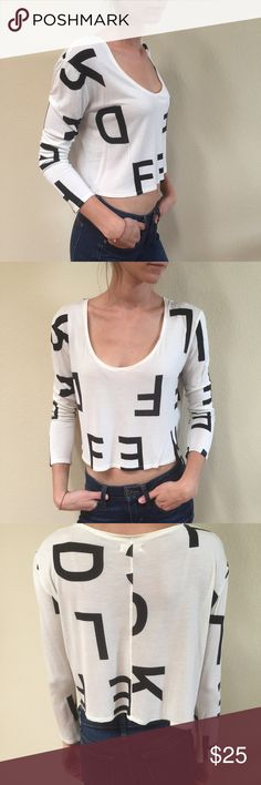 📣 NEW LISTING! 📣 Cropped L/S Alphabet Top 📣 Bundles 2+ for 20%! 📣  Cute, casual long sleeves cropped top with alphabet letters for added interest! Happy to answer any questions! Urban Outfitters Tops Crop Tops