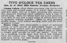 Vintage Recipe (2 Total) Cream Cake, Honey Cake Newspaper Magazine Clipping 1912