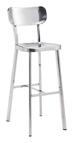 Winter Bar Chair in Polished Stainless Steel