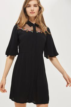 Embroidered Flute Sleeve Shirt Dress