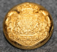 Swedish - Norwegian Union Coat of Arms, Court Livery, 19mm, Gilt, pre 1905