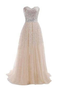 Sweetheart Tulle Long Prom Dress With Beading Sequins PG 210