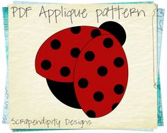 Ladybug Applique Template Spring Applique by ScrapendipityDesigns