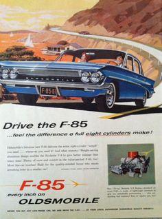 Vintage Car Ad Vintage Oldsmobile Ad Vintage 1960s Car Blue F-85 Eight Cylinder Engine Pacific Coast Highway Car Illustration