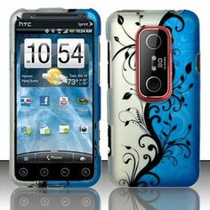 HTC EVO 3D Accessory - Blue Silver Black Vines Protective Hard Case Cover Design for Sprint 4G + Free Magic Soil Crystal Gift