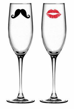 add a little fun to your toast: his  hers champagne flutes complete with mustache and red lips.