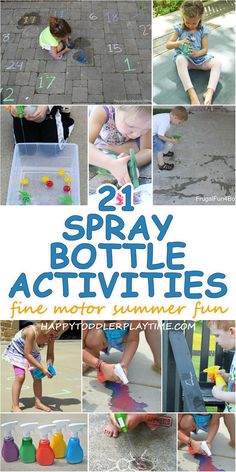 How To Produce Elementary School Much More Enjoyment 21 Amazing Spray Bottle Activities Happy Toddler Playtime Outdoor Activities For Toddlers, Outside Activities, Summer Activities For Kids, Toddler Outdoor Games, Toddler Activities For Daycare, Motor Skills Activities, Sensory Activities, Preschool Activities, Family Activities
